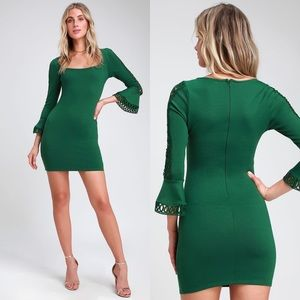 Lulu's Green Charismatic Flounce Sheath Dress Med